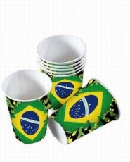 8 Brasil Becher / Copos de Plastico 0,2 l ,, Bandeira Brasil,,