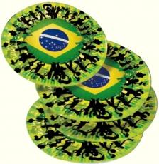 Partyteller 8 Stück Motiv Brasil , 22 cm Pappe, beschichtet