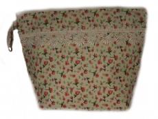 Necessaire Artesanal 100 % algodão Kulturtasche handgemacht 100 % Baumwolle ca 25 x 20 cm