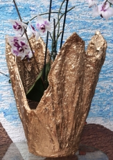 Handgemachter Übertopf goldfarben / Caqueiro feito a mao cor de ouro  ( Ohne Dekorationsartikel)
