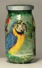 Handbearbeitetes Glas (Decoupage) Flasche 14 cm