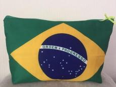 Necessaire Artesanal 100 % algodão Kulturtasche handgemacht 100 % Baumwolle ca 32 x 25 cm ( Flagge Brasil nur auf der Vorderseite)