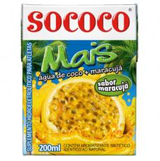 Agua de Coco com Sabor de Maracuja  200 ml, Sococo MHD 09.02.2019